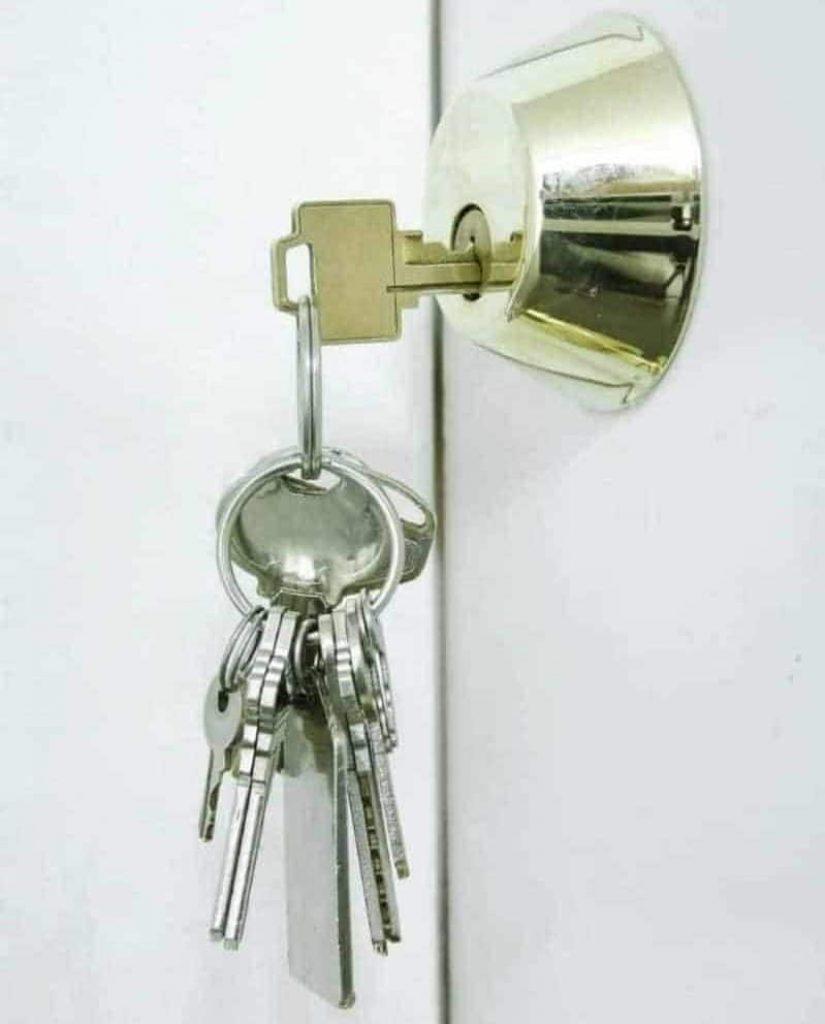 Keys in door lock